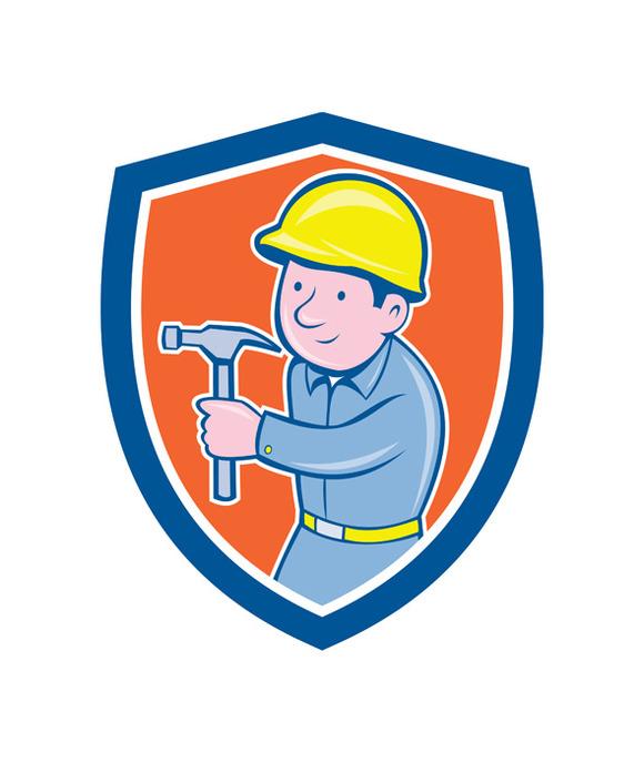 Carpenter Builder Hammer Shield
