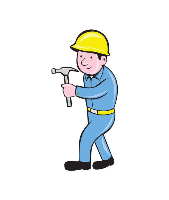 Carpenter Builder Hammer Walking