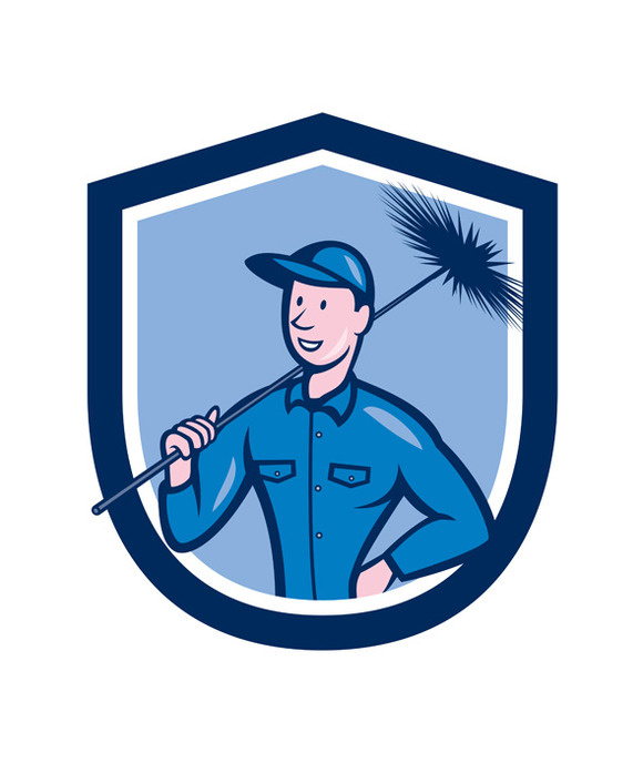 Chimney Sweep Worker Shield Cartoon