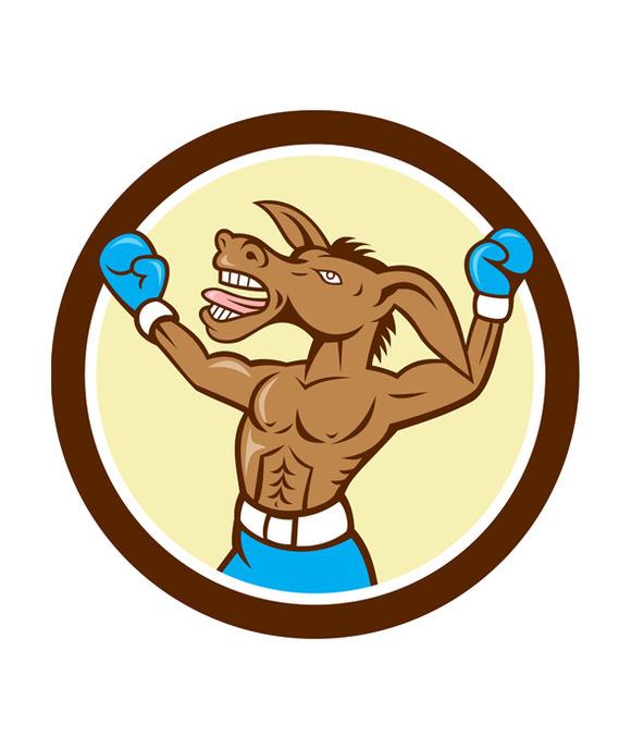 Donkey Boxing Celebrate Circle Carto