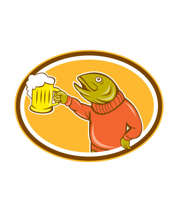 Trout Fish Holding Beer Mug Oval Car