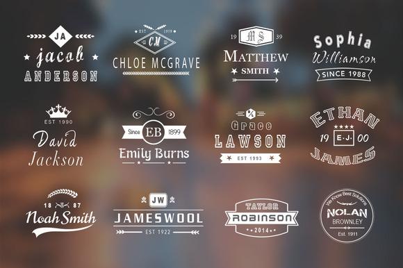 12 Vintage Name Logo Badges 50% Off
