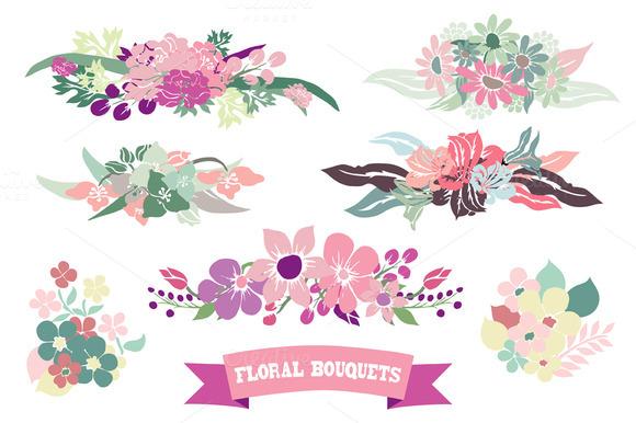 Floral Bouquets Set