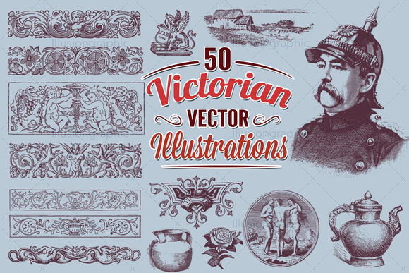 Victorian Vector Art Illustrations 1