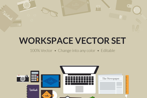 Flat Creative Workspace Tools