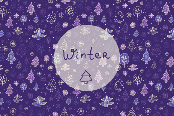 Vector Cute Winter Patterns