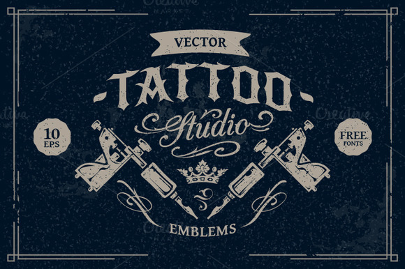 tattoo studio logo template psd designtube creative design content. Black Bedroom Furniture Sets. Home Design Ideas