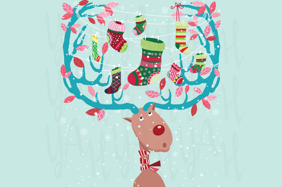 Christmas Reindeer With Stocking