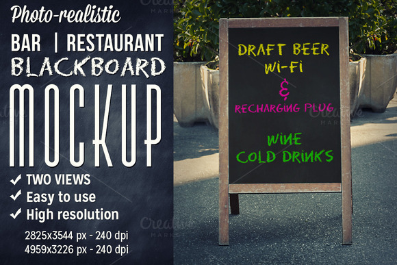 Bar Outdoor Blackboard Mockup