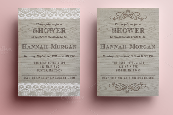 Wooden Bridal Shower Invitation