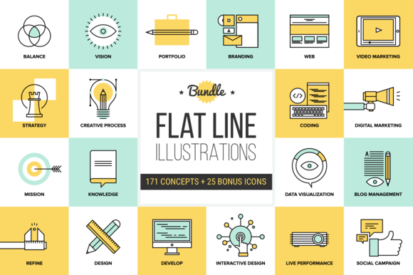 Big Pack Of Flat Line Illustrations