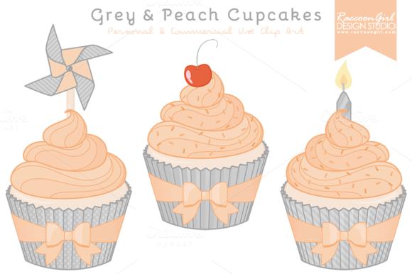 Grey Peach Cupcake Clipart