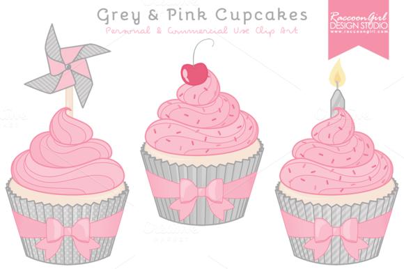 Grey Pink Cupcake Clipart