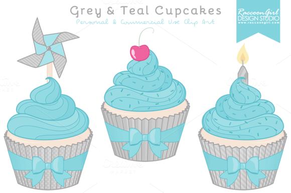 Grey Teal Cupcake Clipart