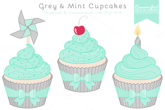 Grey Mint Cupcake Clipart