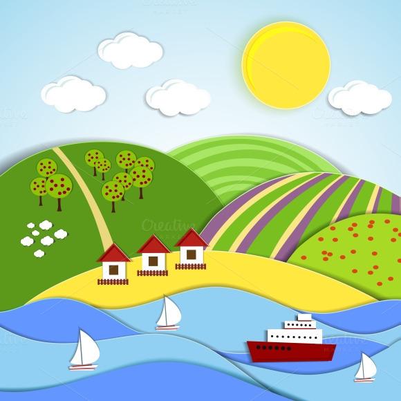 Landscape Of Sea Sun