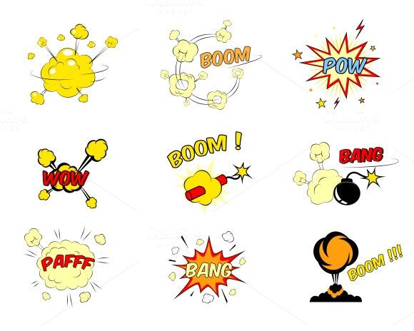 Comic Cartoon Explosions And Bubbles