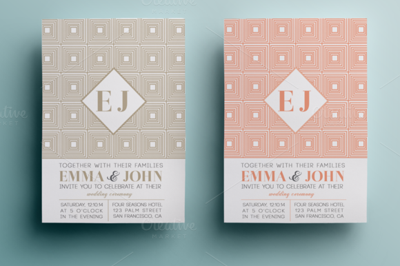 Modern Wedding Invitation And RSVP