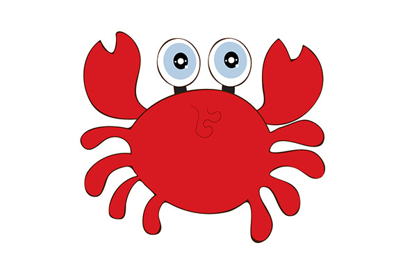 Funny Crab Cartoon Illustration