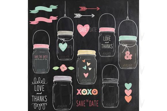 Chalkboard Mason Jars Clip Art