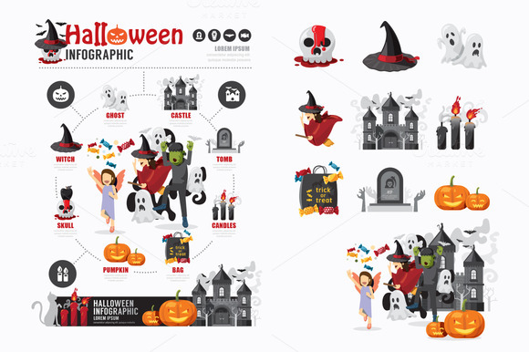 Halloween Template Design With Icons