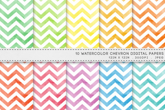 Watercolour Chevron Digital Paper