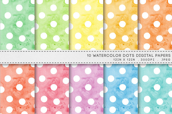 Watercolour Dots Spots Digital Paper