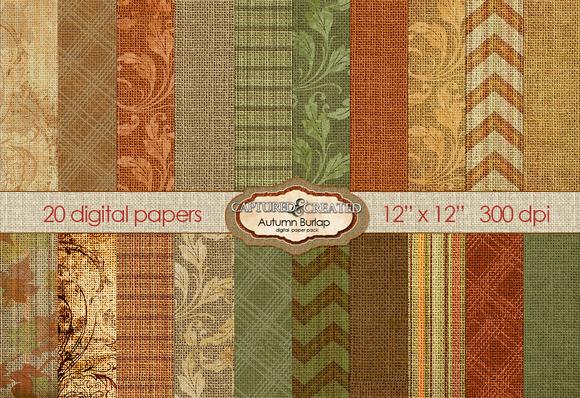 Autumn Burlap 20 Digital Paper
