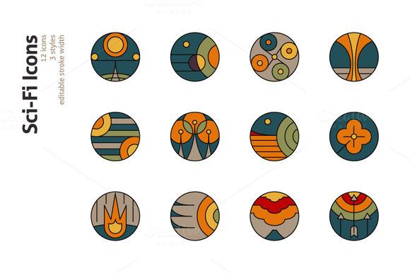 12 Sci-Fi Conceptual Icons
