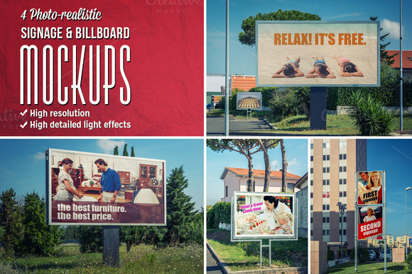 4 Signage Billboards Mockups
