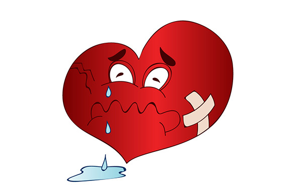 Sad Broken Heart Cartoon Illustratio