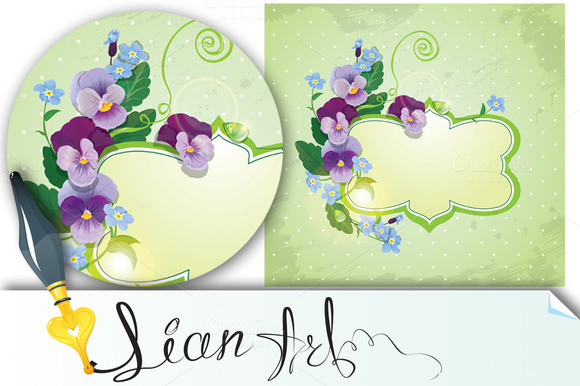 Card With Pansy And Forget-me-not