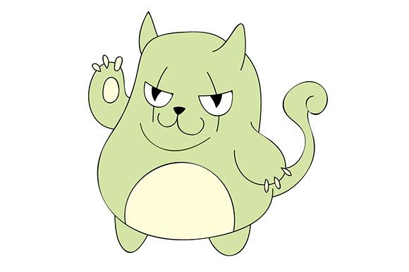 Cute Green Cat Illustration