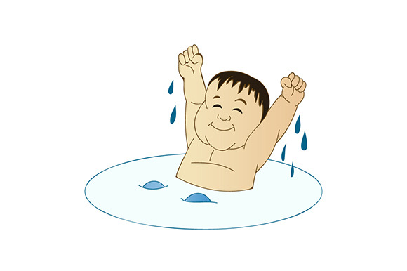 A Man Taking A Relaxing Bath Cartoon