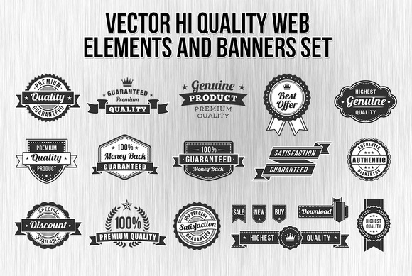 Black And White Web Elements Set