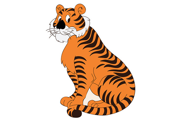 Cute Tiger Cartoon Illustration