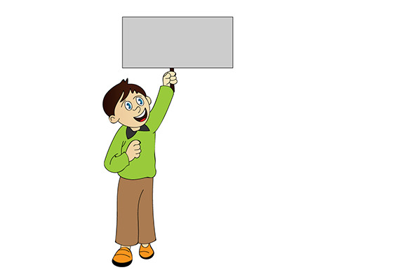 Boy With Sign Illustration