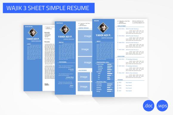 Wajik 3 Sheet Simple Resume Word