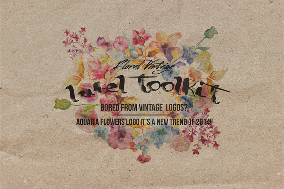 Trendy Vintage Floral Labels Toolkit