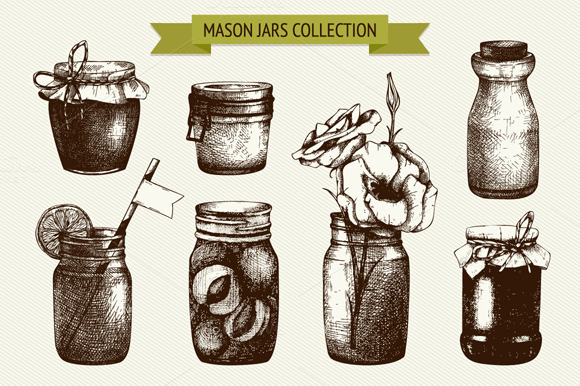 Vector Set Of Mason And Jam Jars