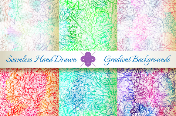 6 Seamless Gradient Florals Set#5