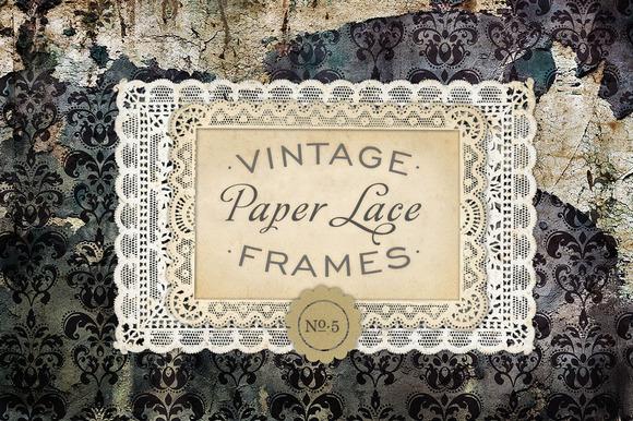 Vintage Paper Lace Frames No 5