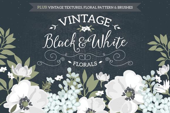 Vintage Black White Florals