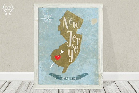 New Jersey State Art Printable