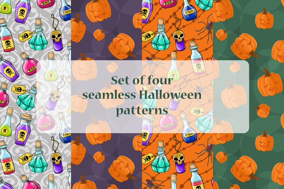4 Seamless Halloween Patterns