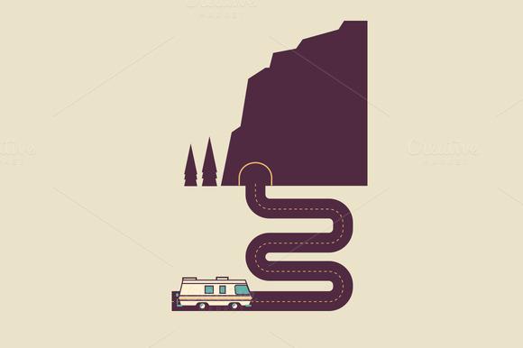 RV Driving Into Tunnel Illustration