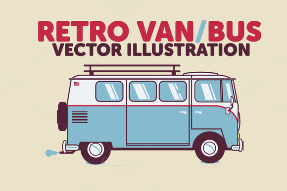 Retro Bus Van Vector Illustration