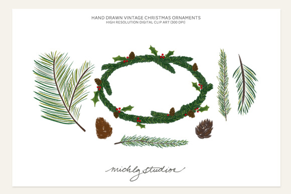 7- Holiday Pine Digital Clip Art Png