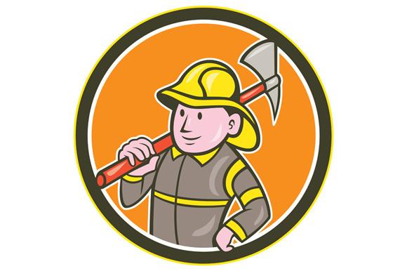 Fireman Firefighter Axe Circle Carto