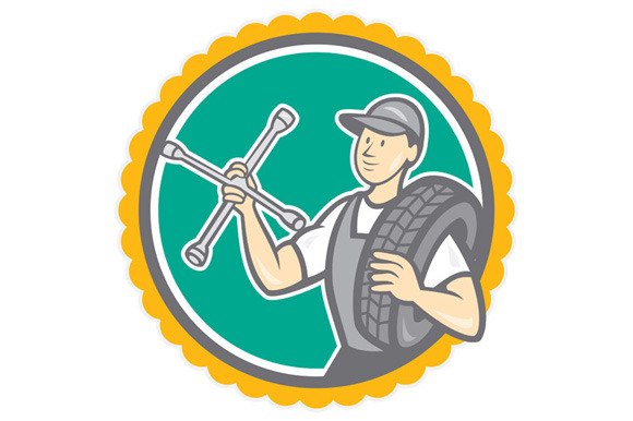 Mechanic With Tire Wrench Rosette Ca